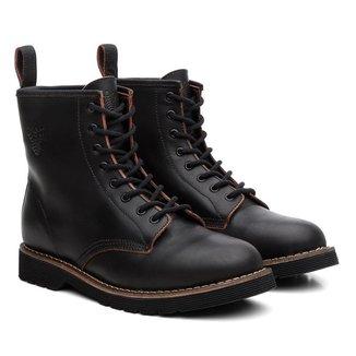 Bota Coturno Black Boots Couro Cadarço Dia a Dia