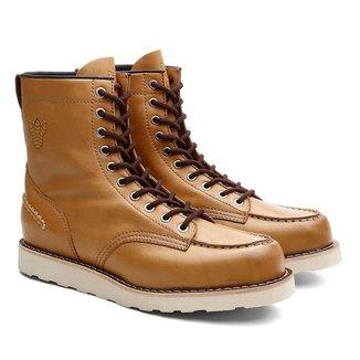 Bota Coturno Black Boots Couro Cano Alto Amarrar Casual