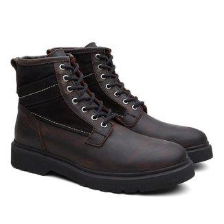 Bota Coturno Black Boots Couro Cano Médio Cadarço Conforto