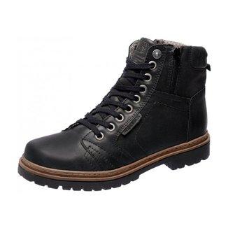 Bota Coturno Em Couro 6016 Preto Mega Boots