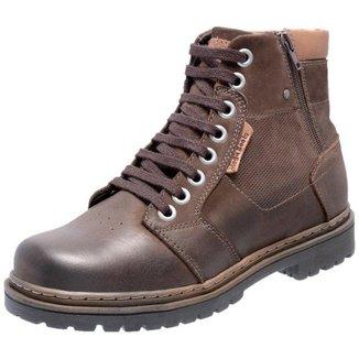 Bota Coturno Em Couro Mega Boots 6027 Cafe-d.leite