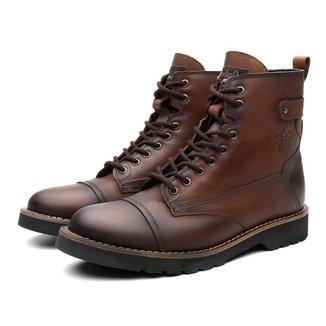 Bota Coturno Masculino BM Couro Cano Medio Macio Black Boots