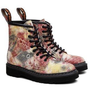 Bota Coturno Viena Unissex Vegano Animal Print Black Boots