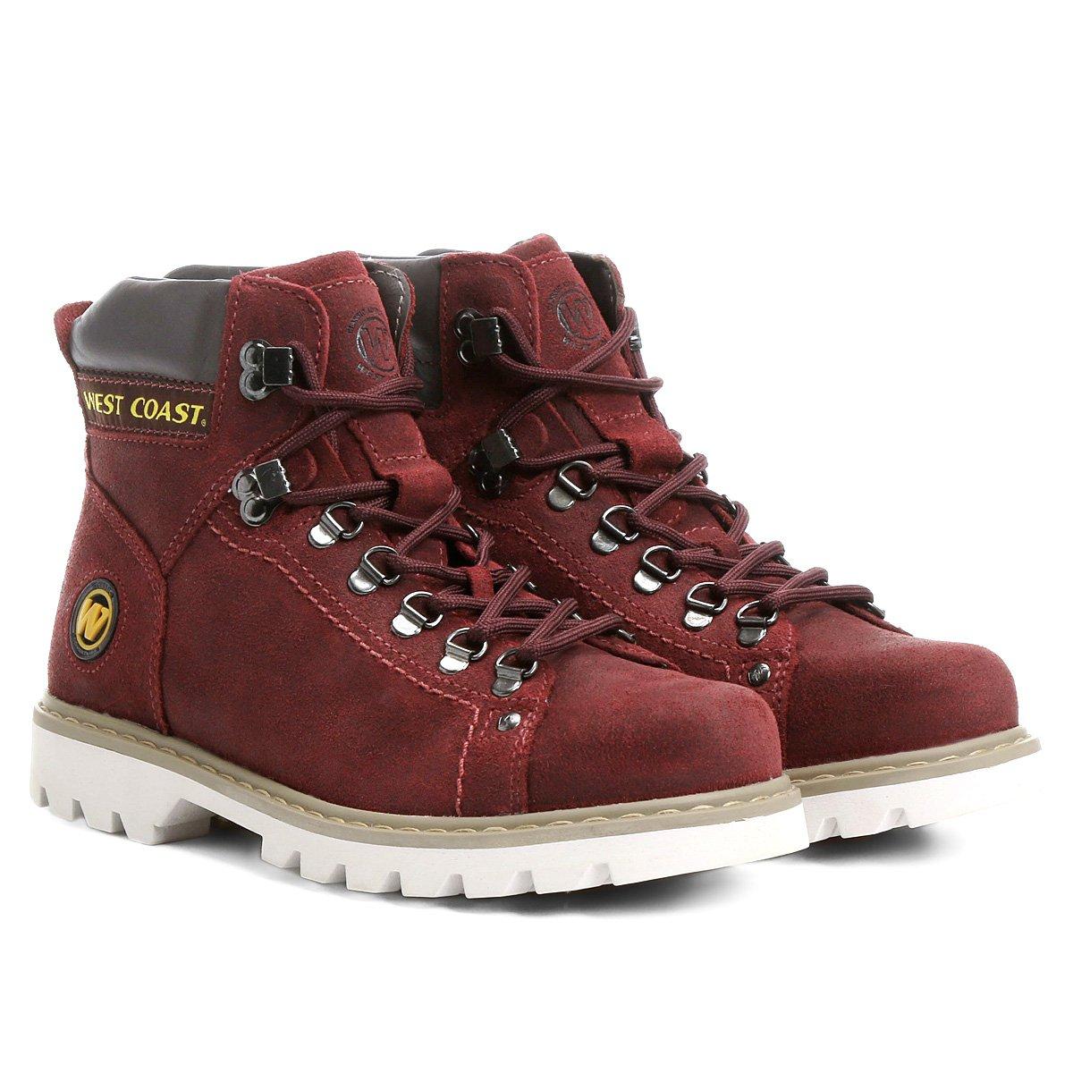 0383648fde Bota Couro Coturno West Coast Worker Classic Masculina - Vermelho - Compre  Agora