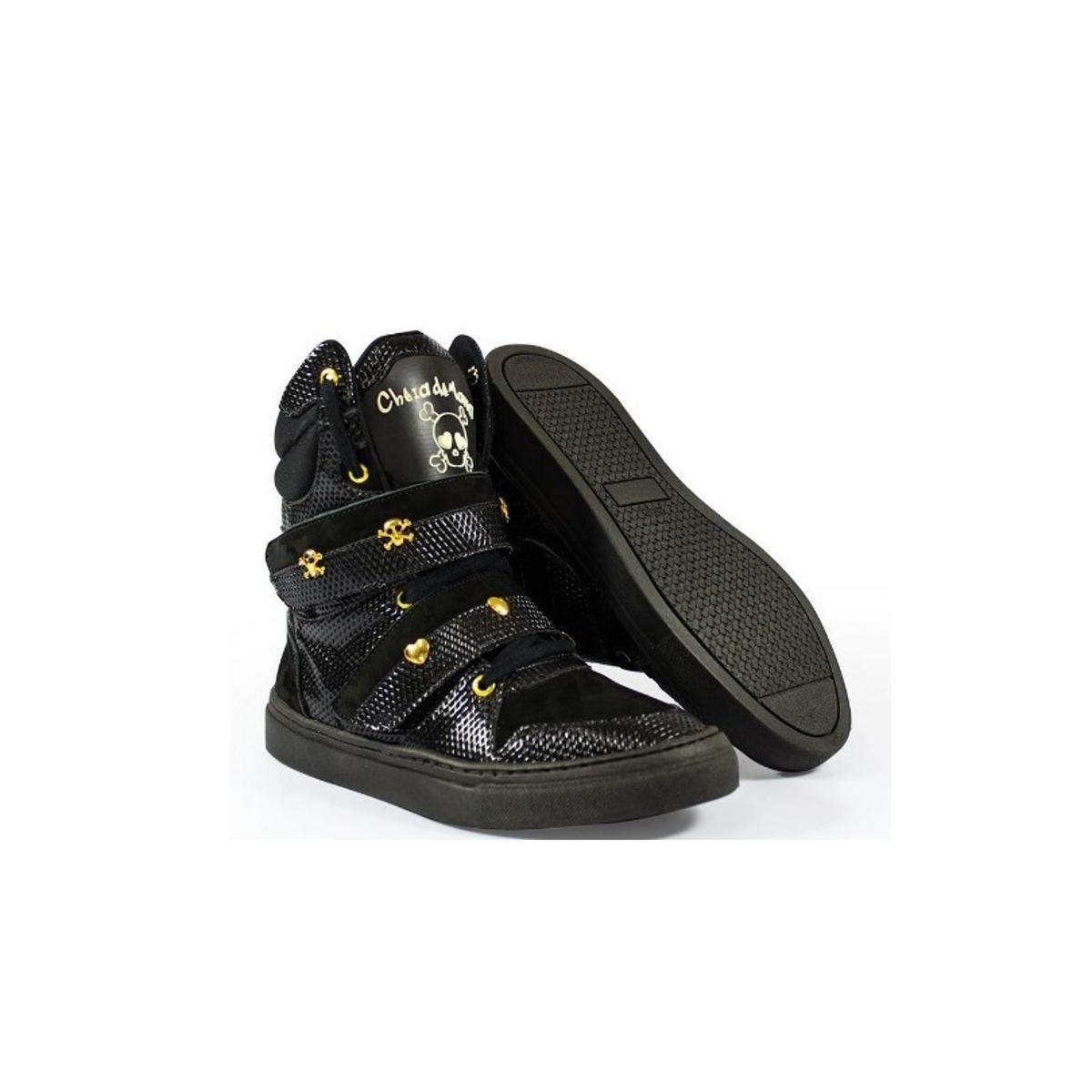 Bota de Treino Feminino Couro Tênis Sneaker Cheia de Marra - Preto - Compre  Agora  41508e476b3