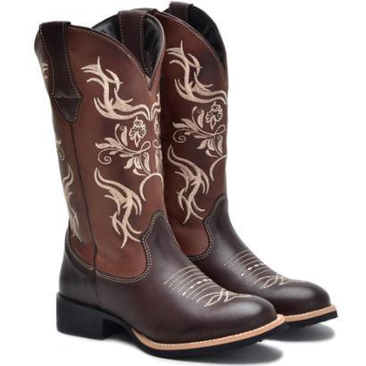 Bota Forms Texana Couro Rodeio Bico Redondo Feminina