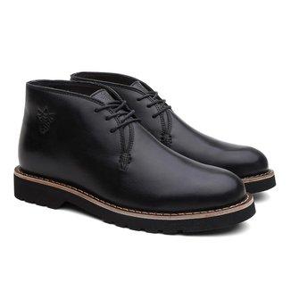 Bota Masculina Bristol Couro Cano Baixo Elegante Black Boots