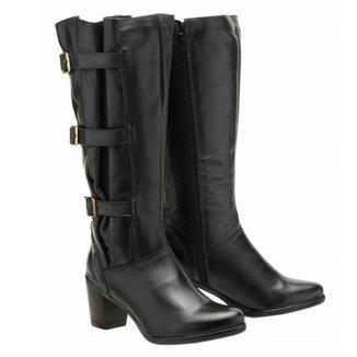 Bota Montaria Atron Shoes Couro Feminina Cano Alto Leve
