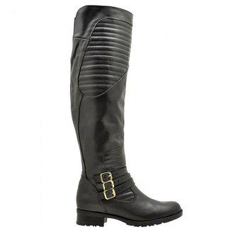Bota Montaria Atron Shoes Couro Feminina Cano Alto Macia