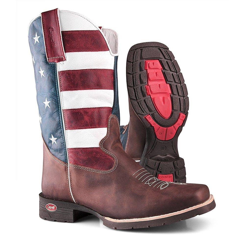 d70d601d0ce14 Bota Texana Country Bandeira Capelli Boots USA em Couro com Bico Quadrado  Masculina - Compre Agora