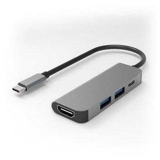 Cabo Adaptador Hub USB Tipo C com 4 Portas, HDMI + USB-C + USB 3.0 + USB 3.0 - FlexInter