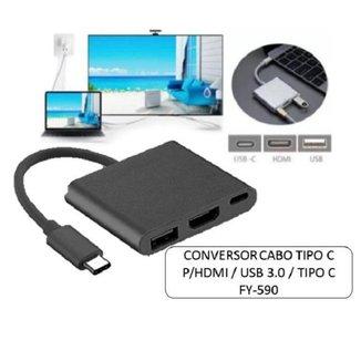 Cabo Adaptador Multiporta Digital Tipo C para HDMI E USB 3.
