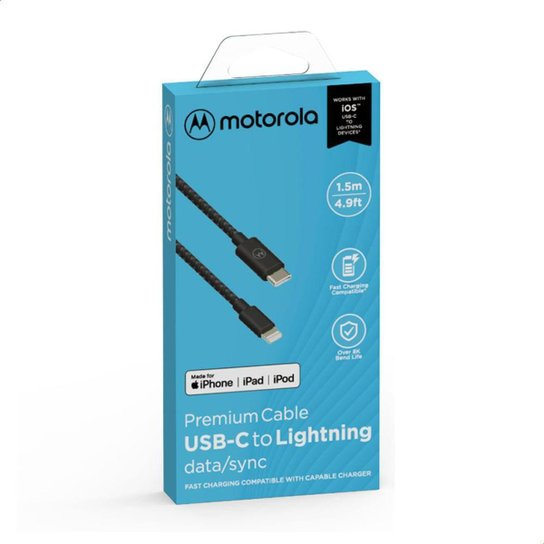 Cabo Cordão de Dados e Carga Motorola Tipo C Tamanho 1.5 Metro - Preto