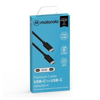 Cabo Cordão de Dados e Carga Motorola USB-C para USB-C Tamanho 1.5 Metro - Preto