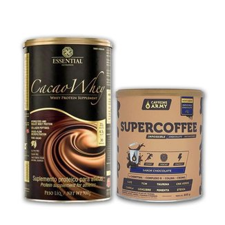 Cacao Whey 900g e Supercoffee Chocolate 220g