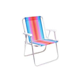 Cadeira Alta Mor Vermelho e Azul Alumínio Ref.2101
