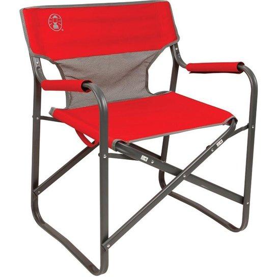 Cadeira Coleman Steel Deck Para Camping Dobrável - Vermelho
