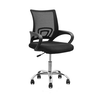 Cadeira de Escritório Office Santiago Preta Cromada