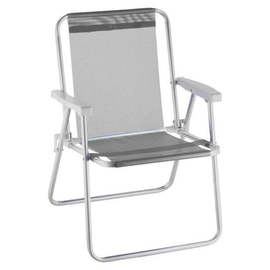 Cadeira De Praia Alta Alumínio Beach Premium - Cinza