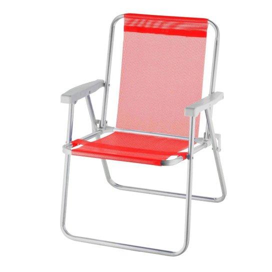 Cadeira De Praia Alta Alumínio Beach Premium - Vermelho