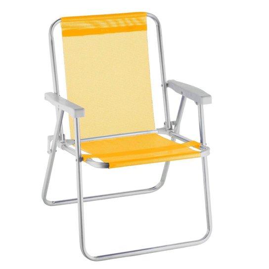Cadeira De Praia Alta Alumínio Beach Premium - Amarelo