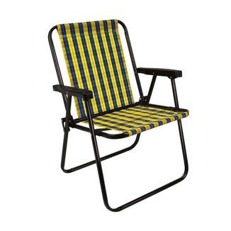 Cadeira de Praia MOR Xadrez Mel 2051 - Xadrez Ama