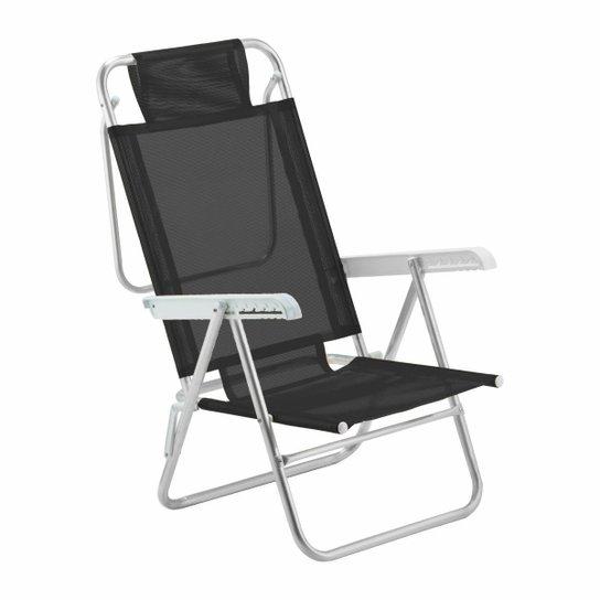Cadeira De Praia Reclinável Sun Glow Alumínio - Preto