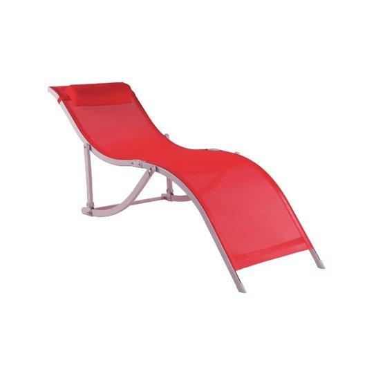 """Cadeira Espreguiçadeira """"S"""" Alumínio  Bel Lazer - Vermelho"""