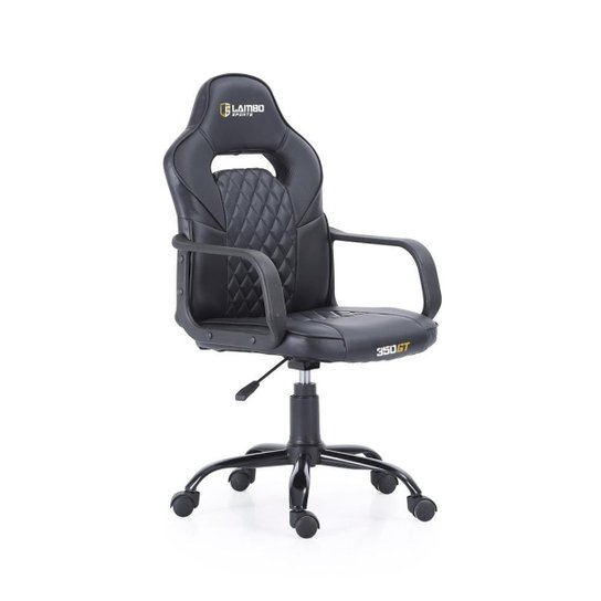 Cadeira Gamer 350GT X10 Estrutura Esportiva Ergonômica Assento 360° Braços Fixos Carbon - Preto