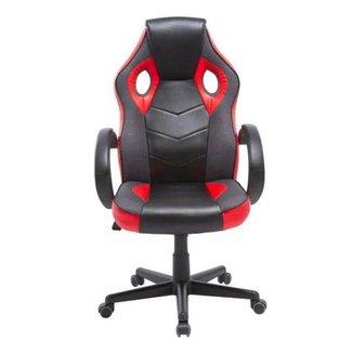 Cadeira Gamer em Couro PU Pelegrin PEL-3016 Preta e Vermelha