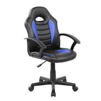 Cadeira Gamer Infantil em Couro PU Preta com Azul Pelegrin PEL-9353
