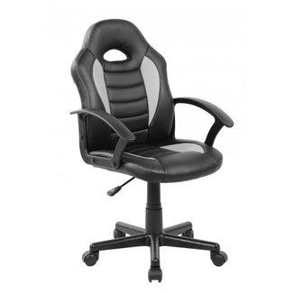 Cadeira Gamer Infantil em Couro PU Preta com Cinza Pelegrin PEL-9353