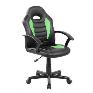 Cadeira Gamer Infantil em Couro PU Preta com Verde Pelegrin PEL-9353