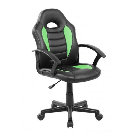 Cadeira Gamer Infantil em Couro PU Preta com Verde Pelegrin PEL-9353 - Verde