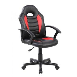 Cadeira Gamer Infantil em Couro PU Preta com Vermelha Pelegrin PEL-9353