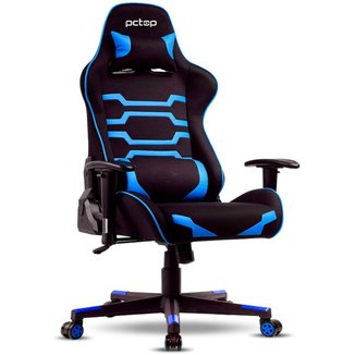 Cadeira Gamer PCTop Power X-2555 - Encosto Reclinável de 180° - Preta e Azul - 0079636-01