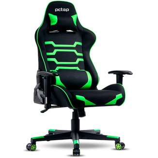 Cadeira Gamer PCTop Power X-2555 - Encosto Reclinável de 180° - Preta e Verde - 0079637-01