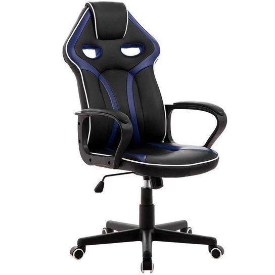 Cadeira Gamer Pelegrin em Couro PU PEL-3017 Preta e Azul - Azul