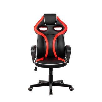 Cadeira Gamer Pelegrin em Couro PU PEL-3017 Preta e Vermelha