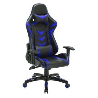 Cadeira Gamer Pelegrin em Couro PU Reclinável PEL-3003 Preta e Azul