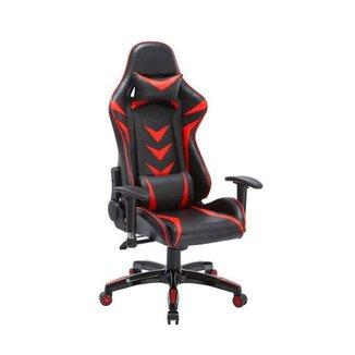 Cadeira Gamer Pelegrin em Couro PU Reclinável PEL-3003 Preta e Vermelha