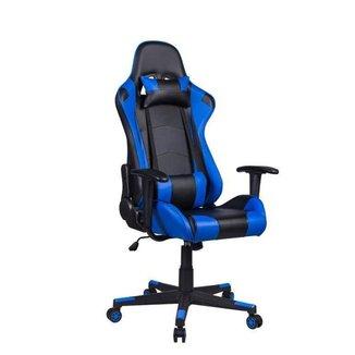 Cadeira Gamer Pelegrin em Couro PU Reclinável PEL-3012 Preta e Azul