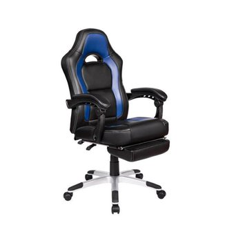 Cadeira Gamer Pelegrin PEL-3006 Couro PU Preto e Azul