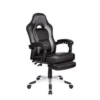 Cadeira Gamer Pelegrin PEL-3006 Couro PU Preto e Cinza