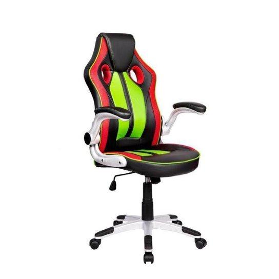 Cadeira Gamer Pelegrin PEL-3009 Couro PU Preta, Vermelha e Verde - Vermelho+Verde