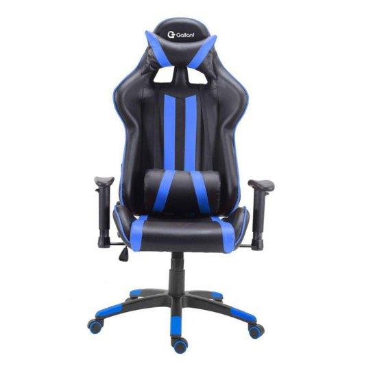 Cadeira Gamer Pro Reclinável Base Giratória Gallant Preto/Azul - Preto+Azul