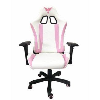 Cadeira Gamer Raven X-10, Estrutura em metal, braço 4D, encosto reclinável até 180° Branca / Rosa