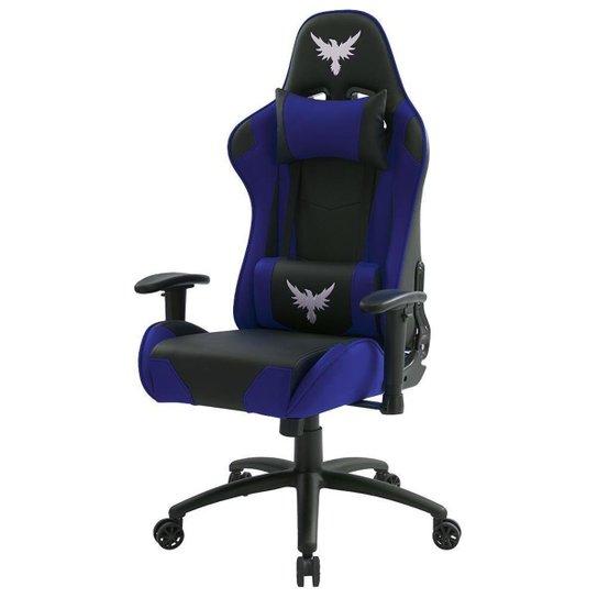 Cadeira Gamer Raven X-20  Estrutura de Metal, braço 2D , Reclinável até 180 Graus Preta / Azul - Preto+Azul