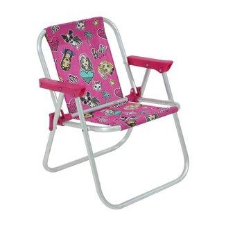 Cadeira Infantil Alumínio Praia Barbie e Hot Wheels Bel