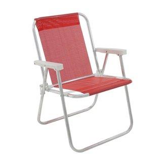 Cadeira Praia Alta Alumínio e Sannet Suporta 110Kg Lazy Bel